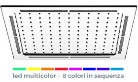Soffione in acciaio inox QUADRATO da incasso a soffitto CON LED MULTICOLOR (8 colori che si alternano a intervalli di 7 secondi ciascuno Green-Yellow-Orange-Red-Purple-Violet-Blu-Cyan).  Il LED s[...]